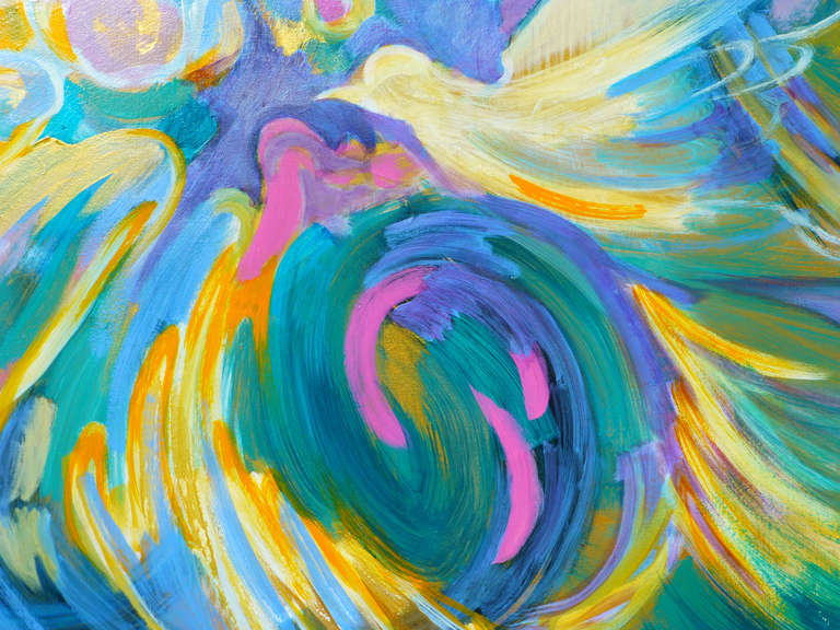 Peace dove is an abstract painting made by Evelyne Ballestra, a French contemporary painter. This green, blue and yellow tons expressionist painting is the artist's idea of peace, symbolized by a bird: the dove.