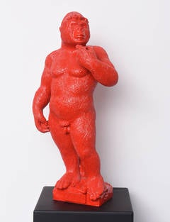 Soon - Red resin sculpture
