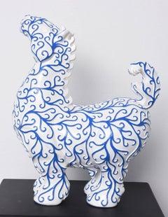 Arabesques Horse - Blue & White Resin sculpture
