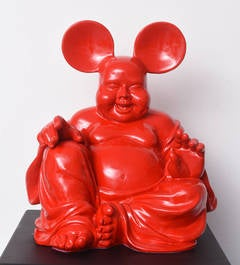 Red Boud'key - Fusion of Buddha and Mickey - Resin sculpture