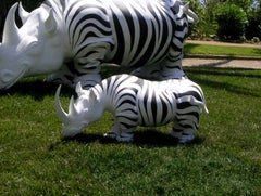 Rhinozebros - Rhinoceros adorned with a zebra skin - Resin Sculpture
