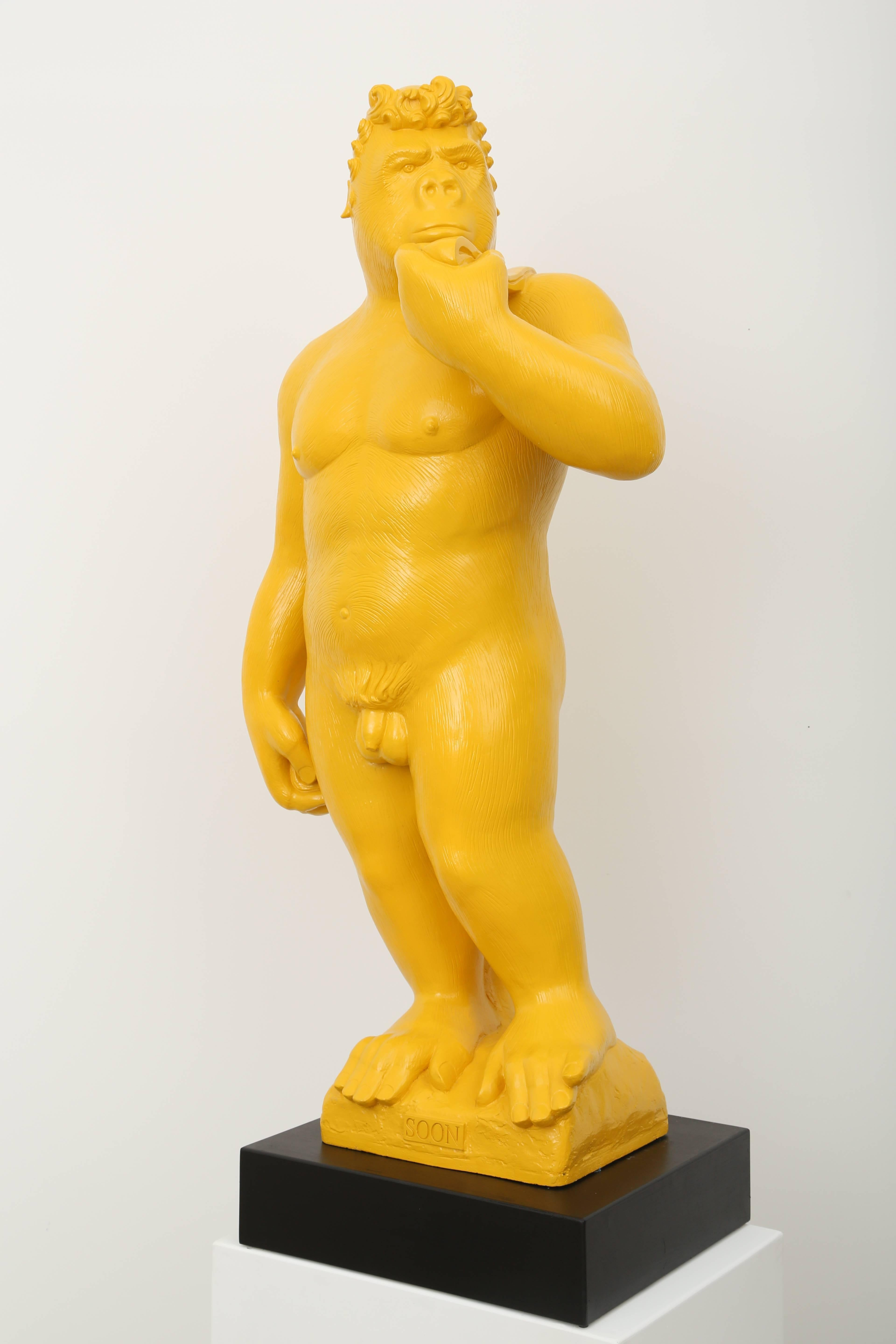 """Soon ! Yellow Gorilla Sculpture in the posture of the """"David"""" by Michelangelo"""