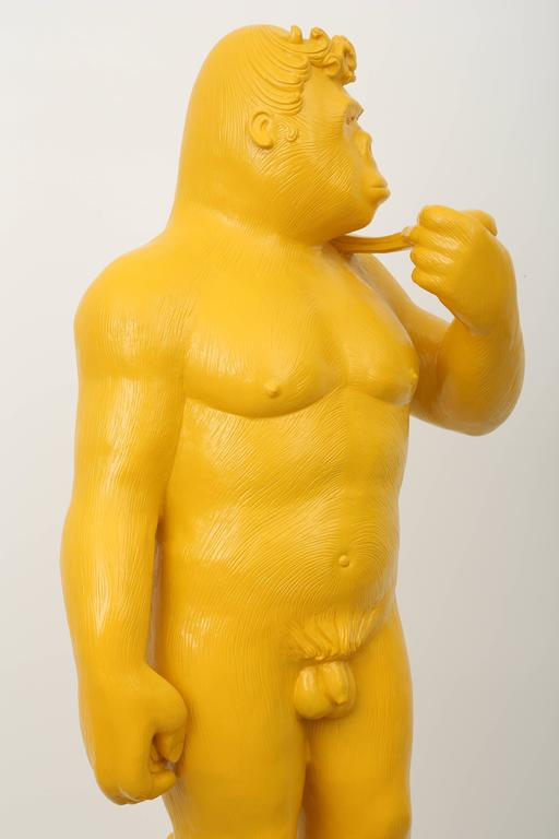 Soon - Yellow Gorilla Resin Sculpture For Sale 6