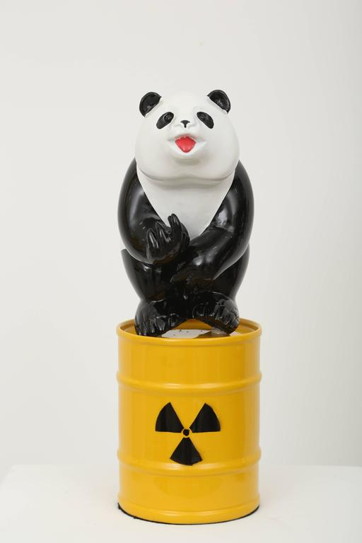 """The Panda (WWF logo) on a can of nuclear waste subtitled """"You want to fuck my life"""". While remaining humorous and aesthetically attractive, his messages become more powerful reflecting current environmental and humanitarian issues.  Born in 1953,"""