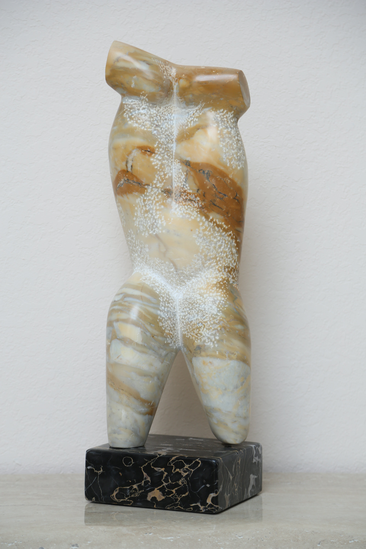 Yellow travertine sculpture