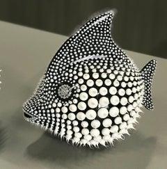 """Eddie Maniez """"Moonfish Medium"""" Sculpture French Ceramic Silicone Black Swarovski"""
