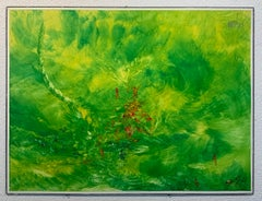 """Reginald Pollack """"Bright Sunny Day"""" Abstract Expressionist Oil on Masonite Green"""