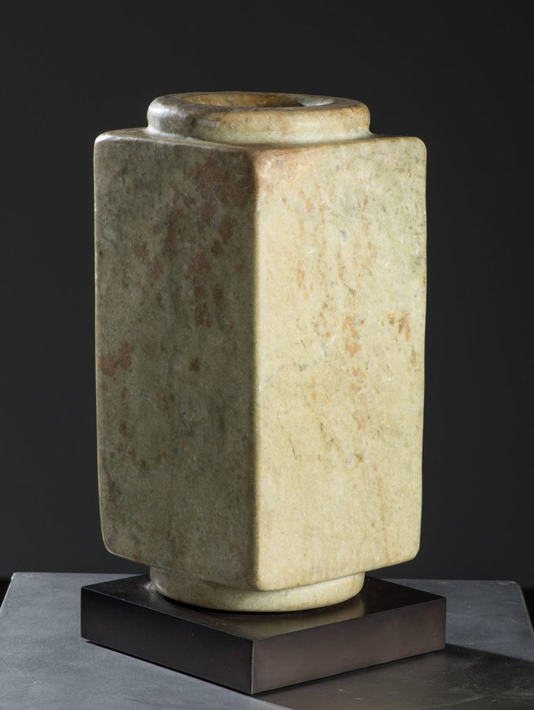 Qijia Culture Abstract Sculpture - Cong Prismatic Cylinder (48187)