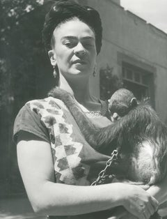 Frida in Front of Studio w/ Monkey, Coyoacan