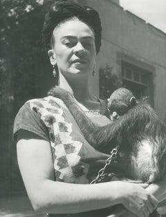 Frida in Front of Studio w/ Monkey, Coyoacan