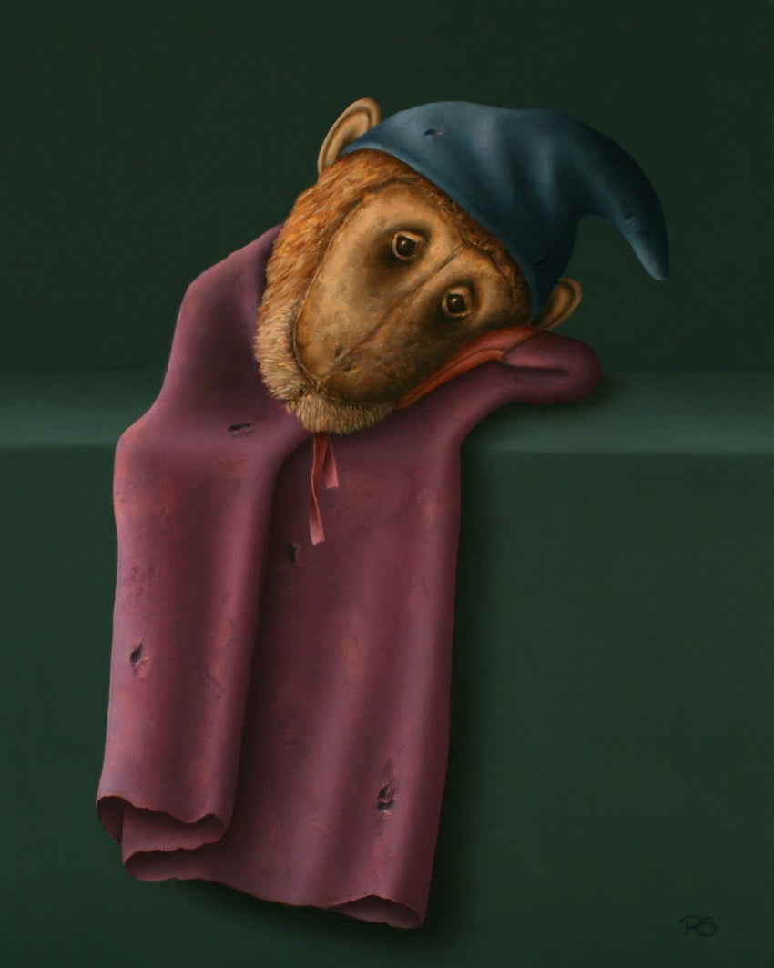 """""""Lying Monkey"""" Contemporary Dutch Fine Realist Painting of Hand Puppet"""