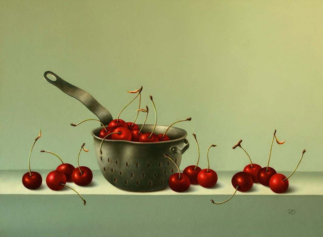 """""""Cherries in a Strainer"""" Contemporary Fine Realist Still-Life Painting of Fruit"""