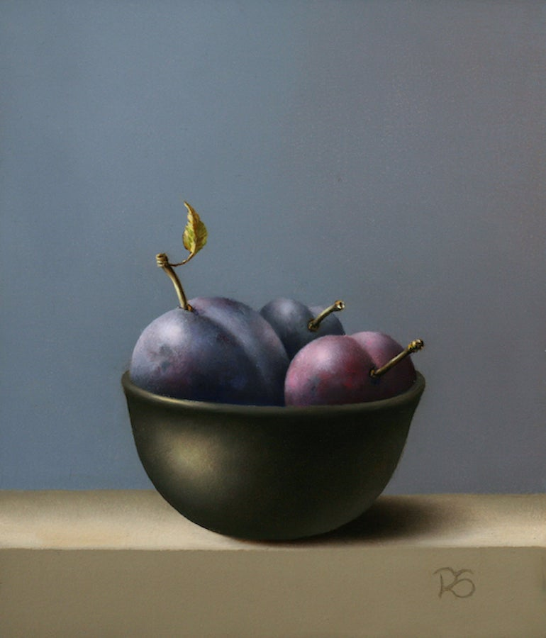 """""""Blue Plums in a Bowl"""" Contemporary Fine Realist Still-Life Painting of Fruit"""
