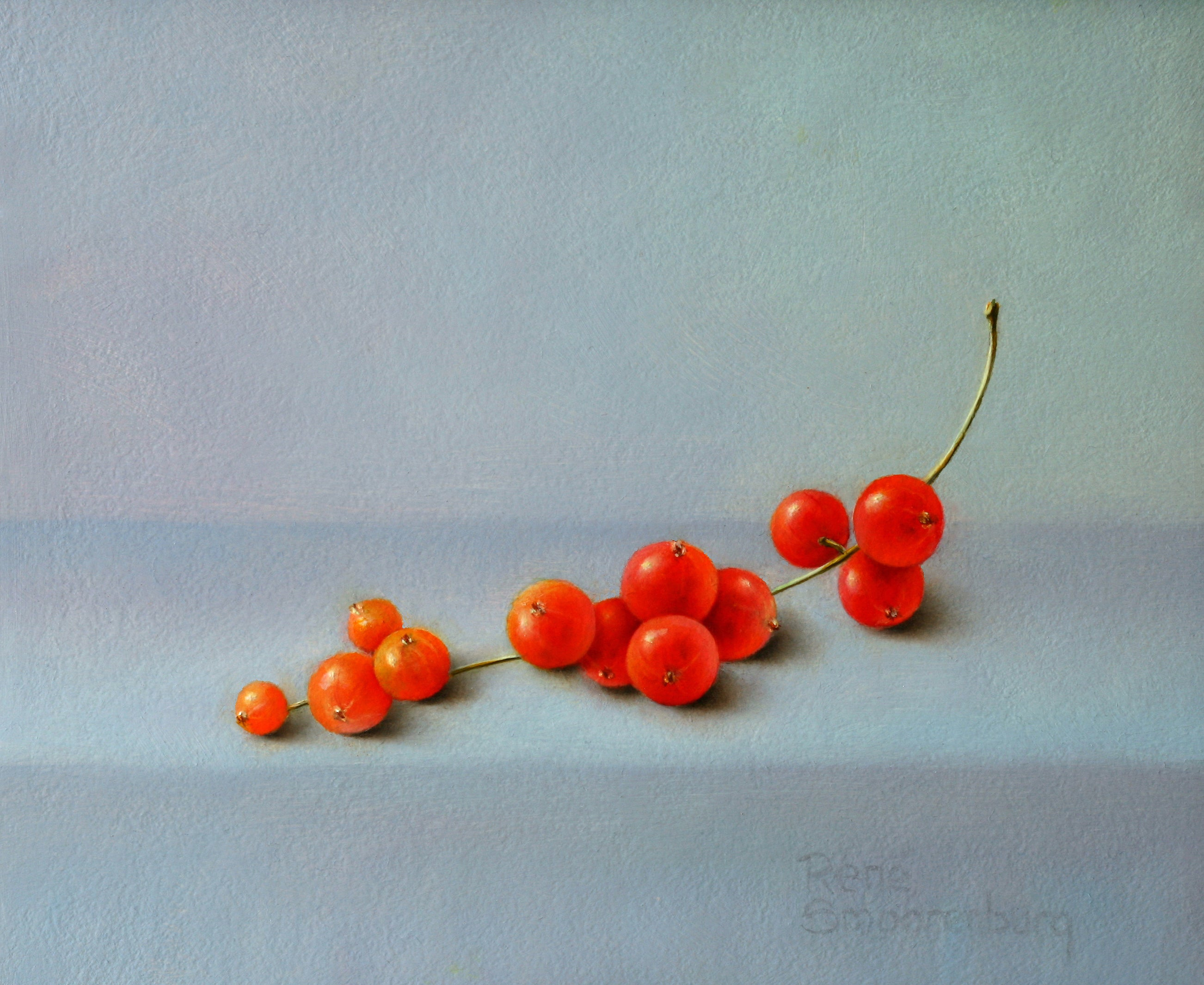 """""""Red Berries"""" Contemporary Fine Dutch Realist Still-Life Painting of Fruit"""