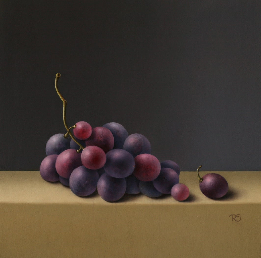 """""""Purple Grapes"""" Contemporary Fine Dutch Realist Still-Life Painting of Fruit"""