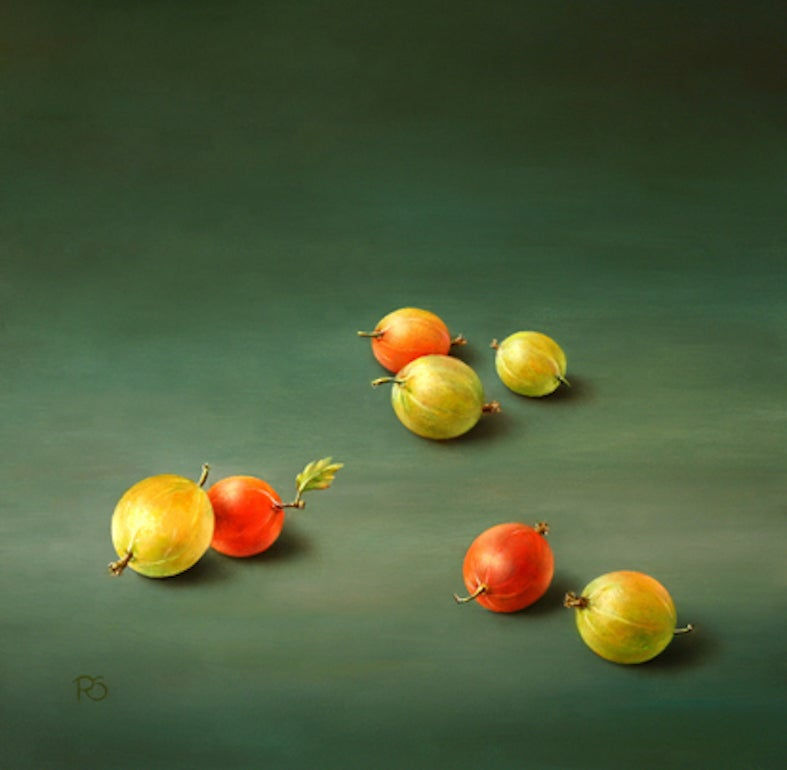 """""""Gooseberries"""" Contemporary Fine Dutch Realist Still-Life Painting of Fruit"""