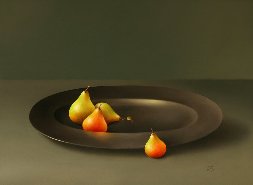 """""""Pears on Tin Dish"""" Contemporary Fine Realist Still-Life Painting of Fruit"""