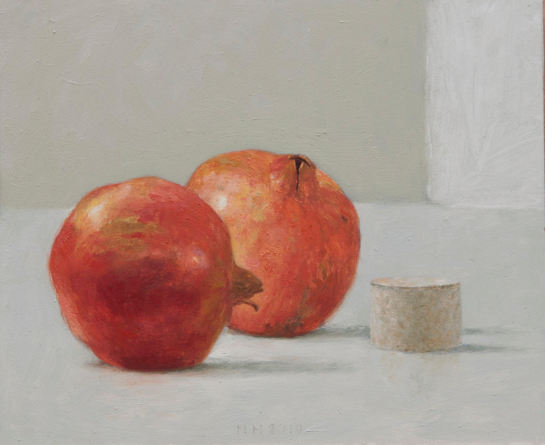 ''Pomegranates'' Contemporary Dutch Still Life Painting of Pomegranates