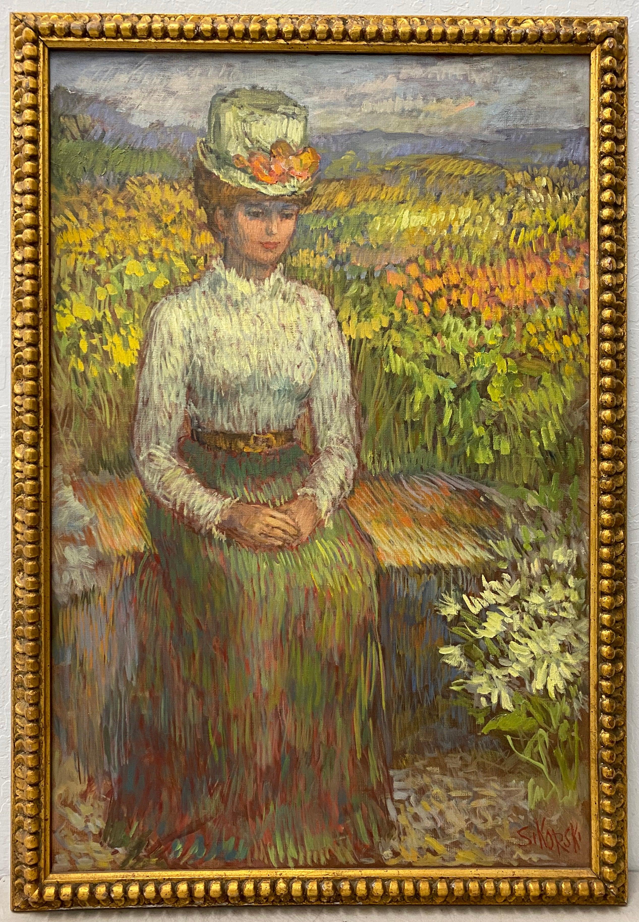 "Eva Sikorski ""Seated Woman in Garden"" Original Oil Painting C.1970"