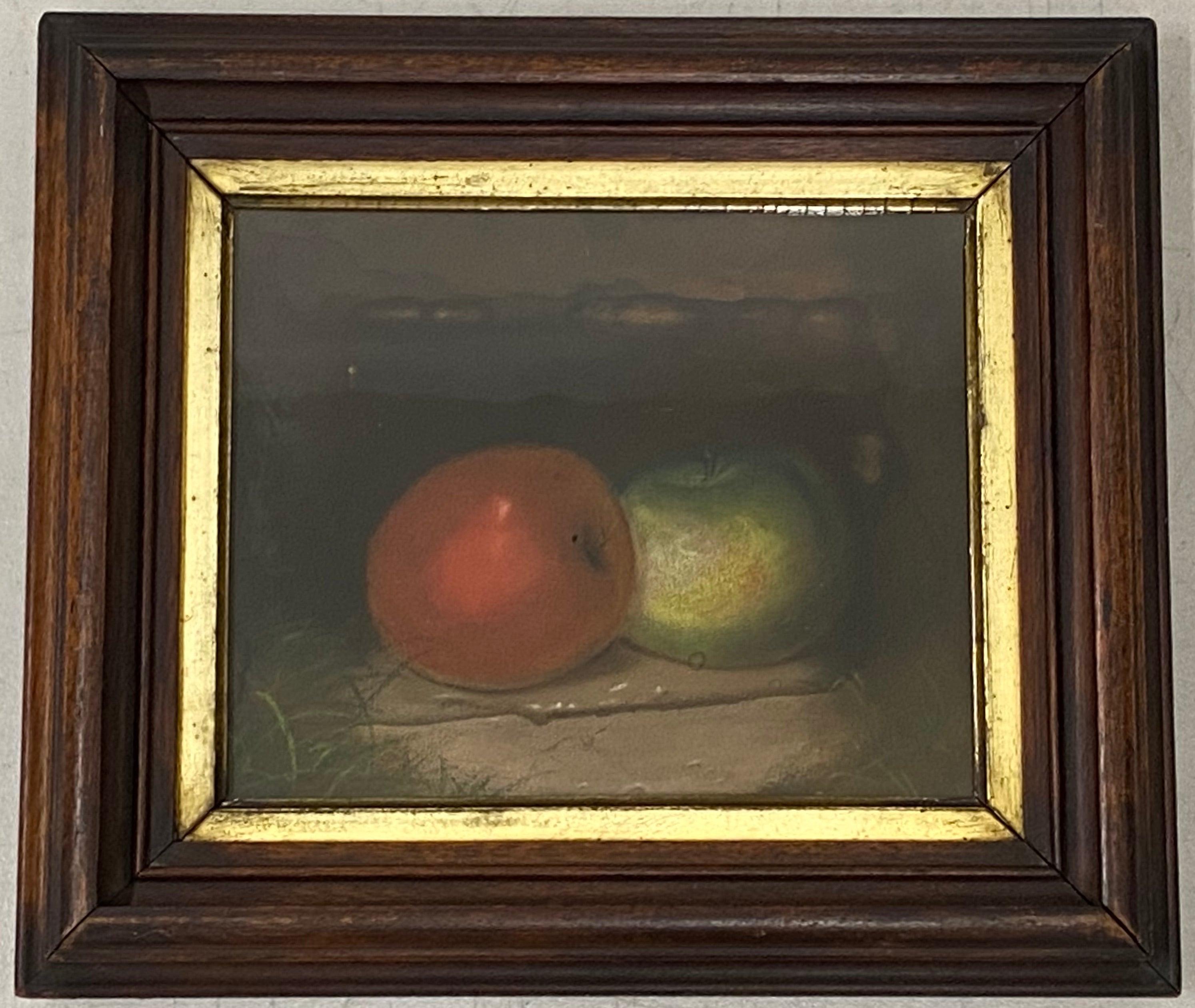 "19th Century Still Life ""Red & Green Apples"" Original Pastel Painting"
