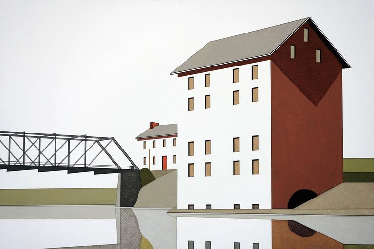 William Steiger Figurative Painting - Mill Bridge Reflection #1