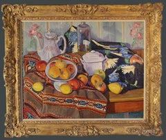 A Still-Life on a table with apples, lemons a teapot and a bottle.