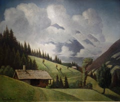 Alpine landscape with clouds