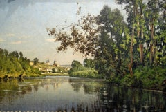 River landscape depicting the Church in Vetheuil on the Seine