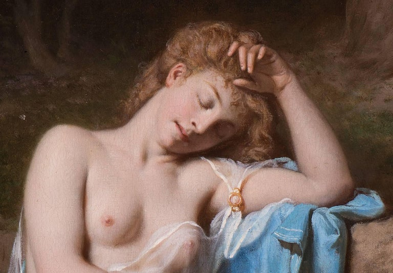 A young lady resting in a wooded glade - Painting by Jean Hippolyte Lazerges
