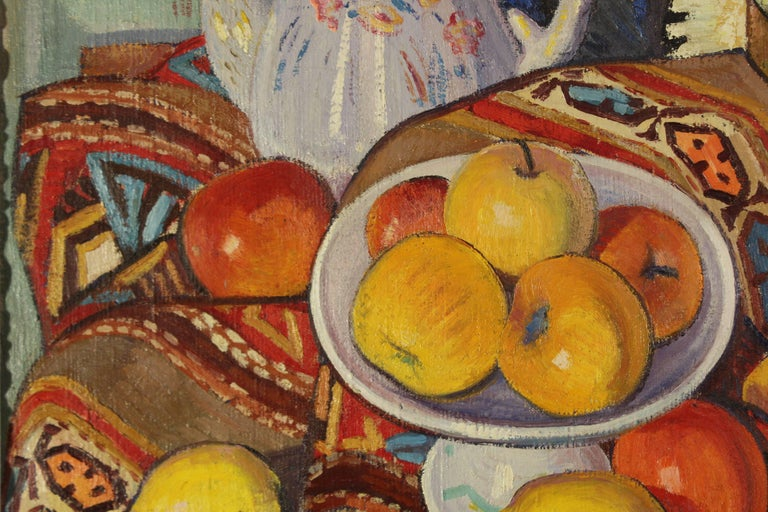 A Still-Life on a table with apples, lemons a teapot and a bottle. - Painting by Louis Neillot