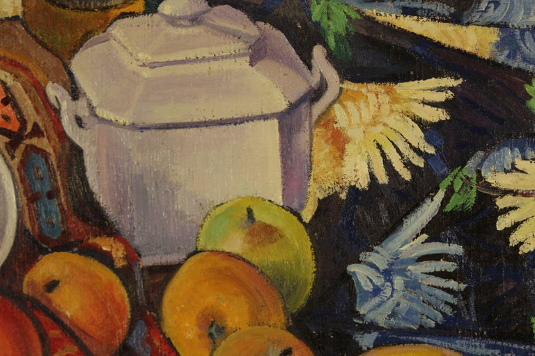 A Still-Life on a table with apples, lemons a teapot and a bottle. - Post-Impressionist Painting by Louis Neillot