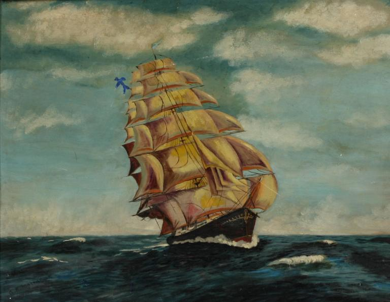 Unknown Figurative Painting - Clipper Ship