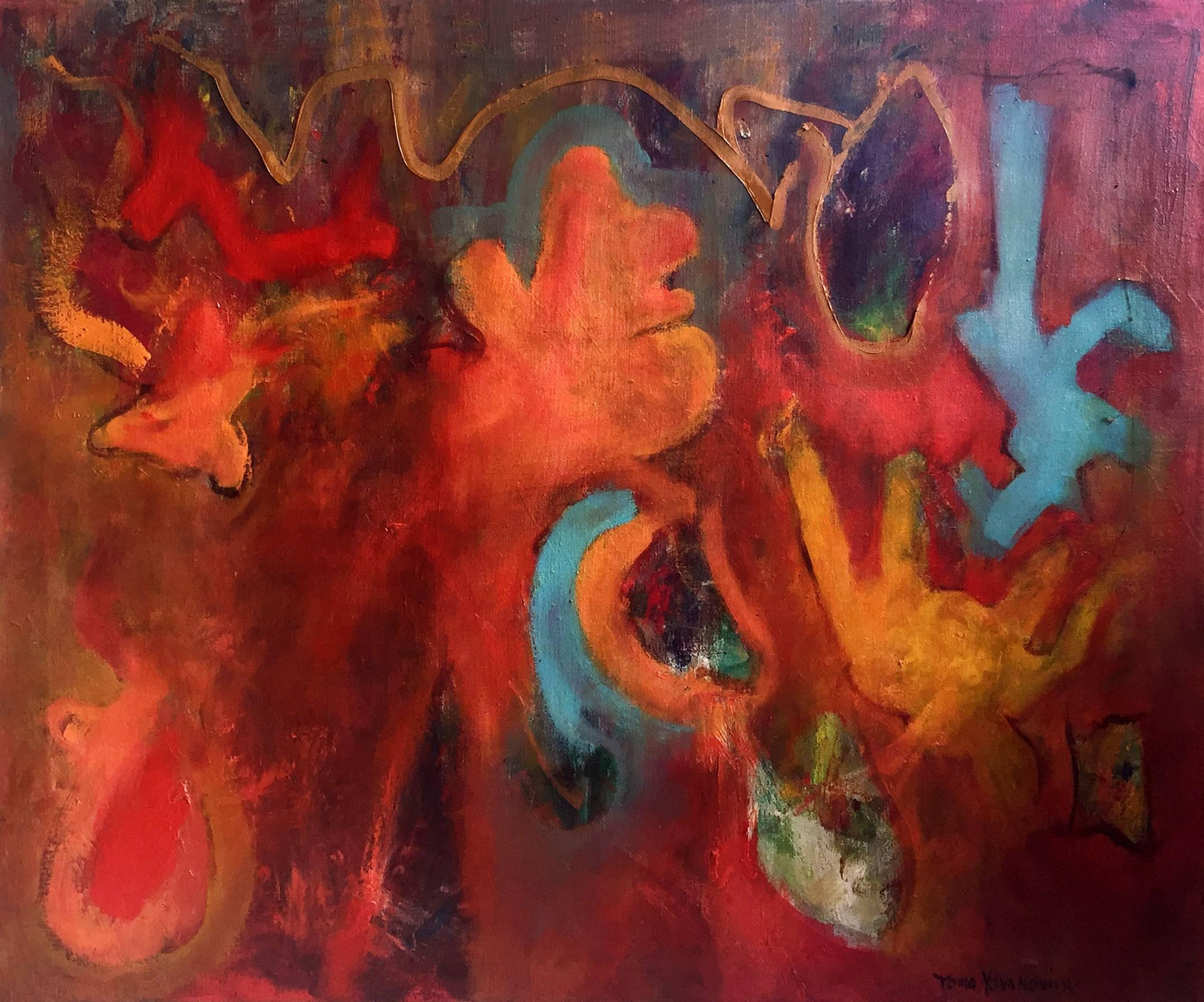 "Mid-Century Modern Abstract Expressionist Oil Painting ""All the Pieces"""