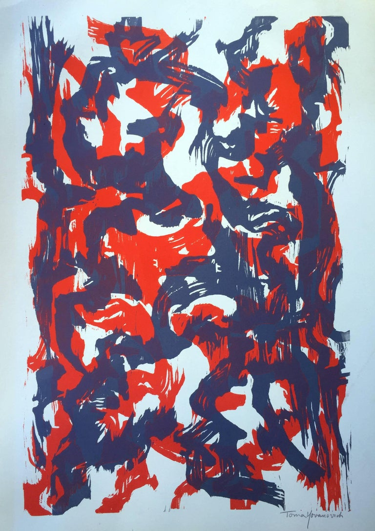 Toma Yovanovich Abstract Print - Mid-Century Modern Abstract Epxressionist Monotype Print