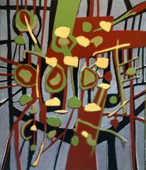 "Mid-Century Modern Woodblock Print ""Rock Garden Gate"""