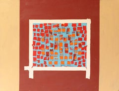 "Mid-Century Modern Abstract Oil Painting ""Window"""