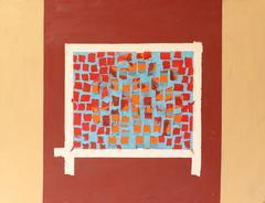 "Mid-Century Modern Abstract Oil Painting ""Window"""