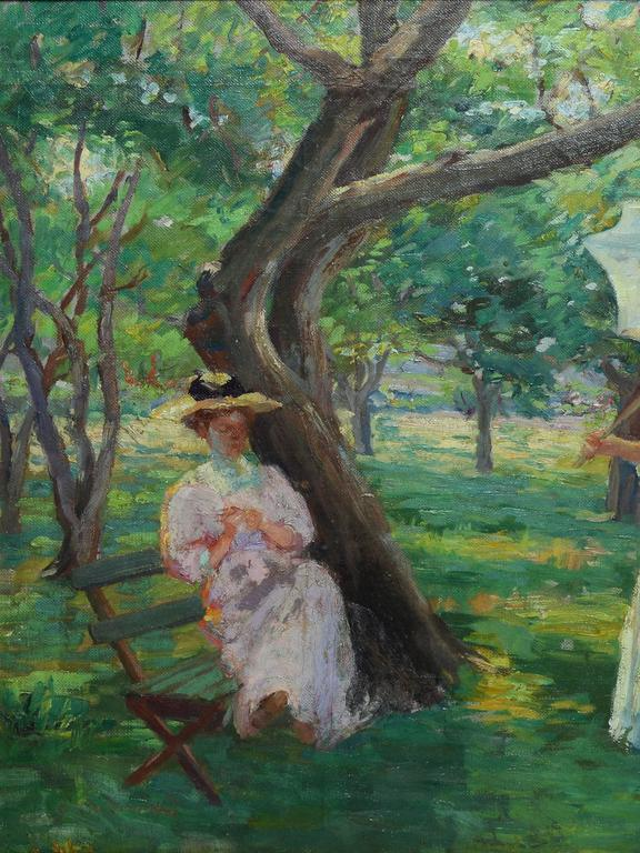 19th century Impressionist oil painting of two women in a park. Oil on canvas, circa 1900. Signed illegibly lower left. Displayed in giltwood frame.  Image, 27