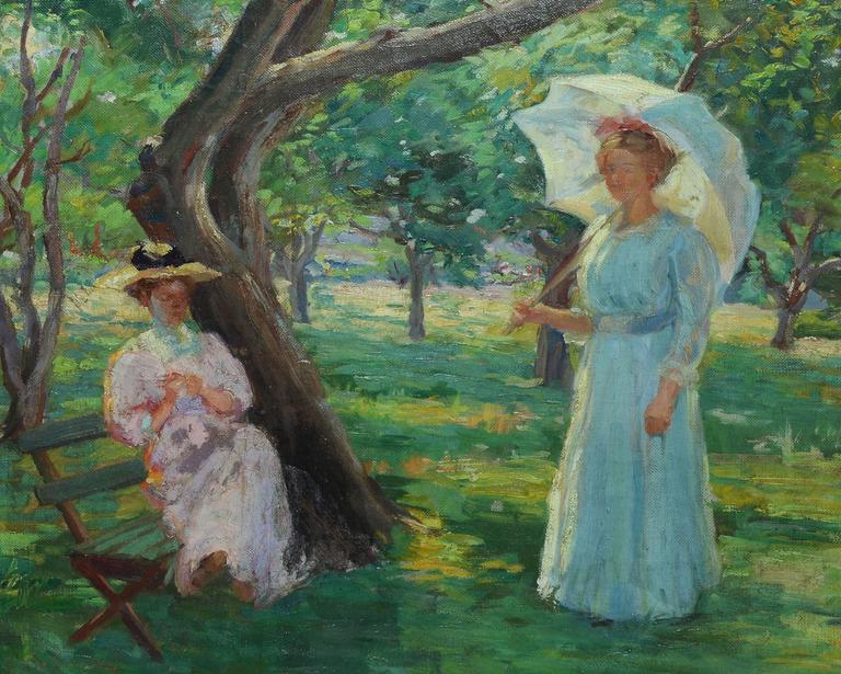 Sunny Day in the Park - American Impressionist Painting by Unknown