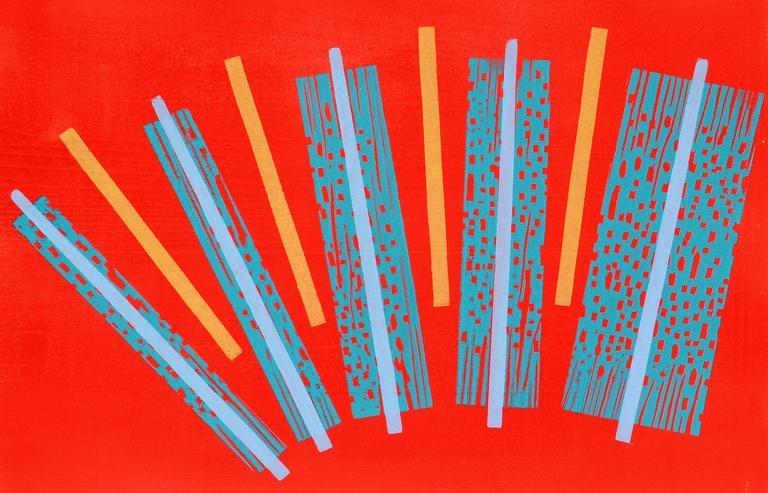 Mid Century Modern Abstract Monotype Print