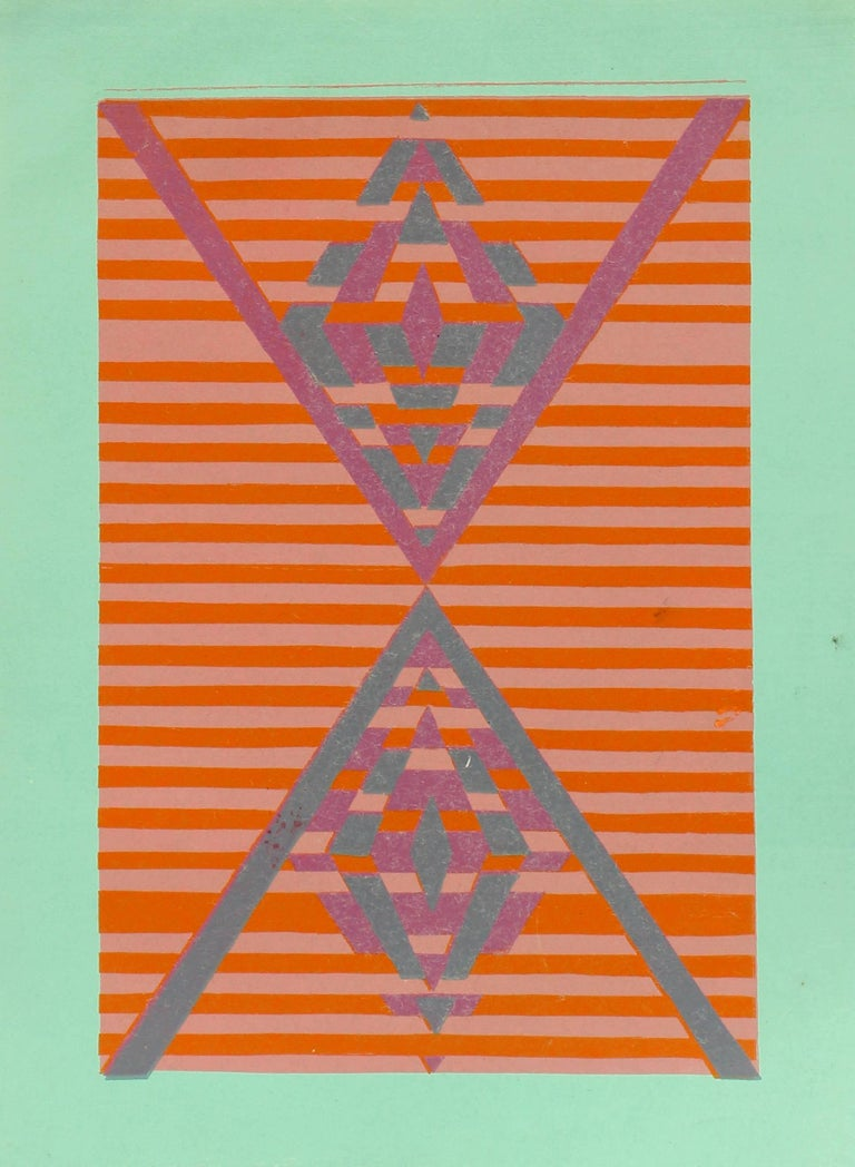 """Mid-Century Modern geometric abstract print by American artist Toma Tovanovich (1931- 2016).  Tovanovich's work is found in many public and private collections all over the world. Circa 1960, unframed, signed """"Toma Yovanovich"""" lower right, edition"""