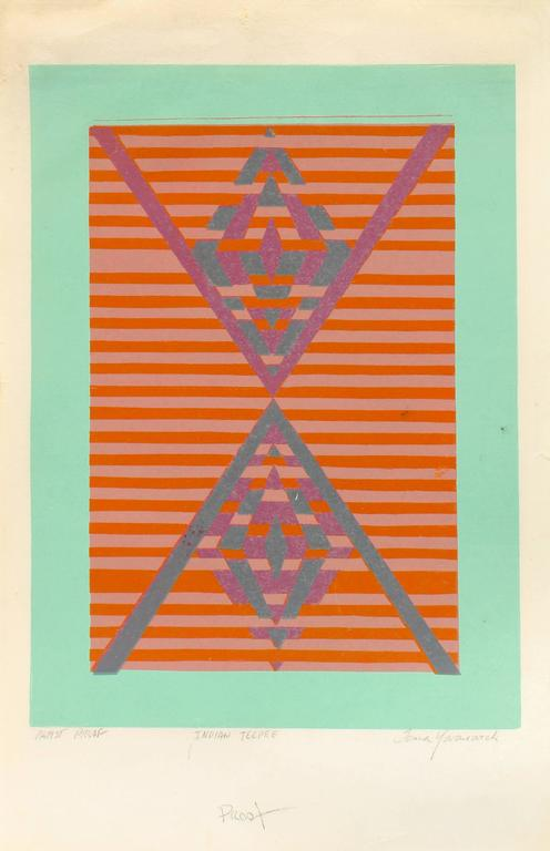 Mid Century Modern Geometric Abstract Print For Sale 1