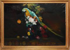 Antique Impressionist Oil Painting, Parrot Still Life, by Luis Graner Y Arrufi
