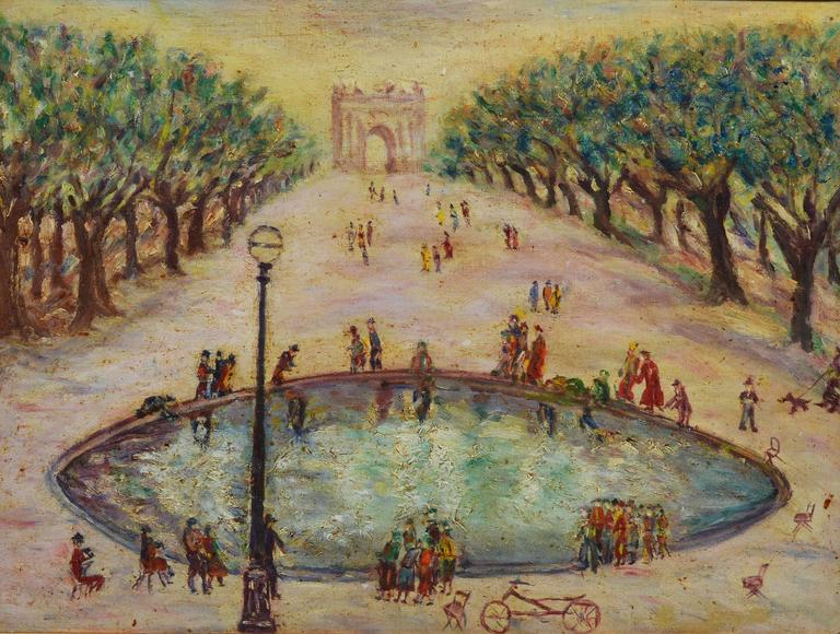Unknown Paris Park View Painting At 1stdibs