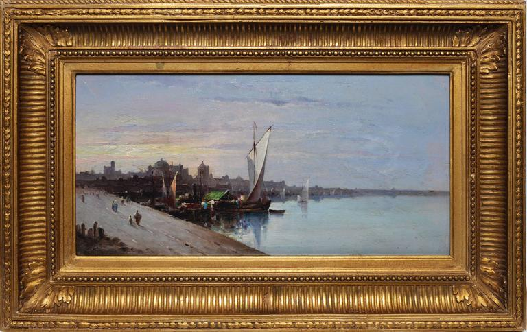 Unknown Landscape Painting - Barbizon View of a European Harbor