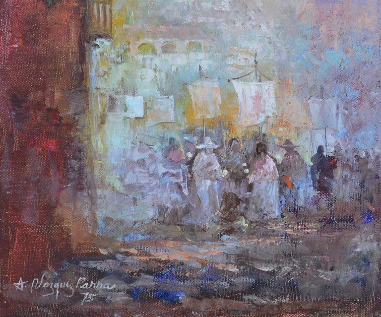Latin Street View - Gray Figurative Painting by Antonio Vasquez Parra