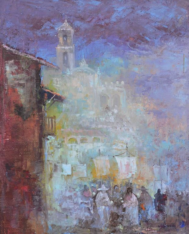 """Impressionist street view with figures by Antonio Vasquez Parra (d.1984).  OIl on canvas, circa 1975.  Signed lower left, """" A Vasquez Parra"""",  Displayed in a silver frame.  Image size , 8""""L x 12 """"H, overall 10""""L x 14""""H."""
