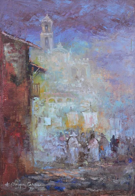 Latin Street View - Impressionist Painting by Antonio Vasquez Parra