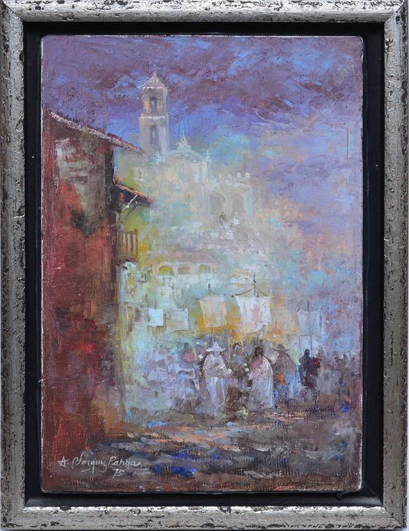 Latin Street View - Painting by Antonio Vasquez Parra