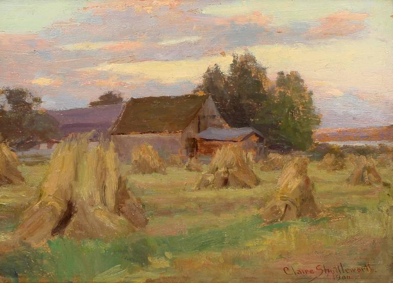 Claire Shuttleworth Hay Fields At Dawn Painting For